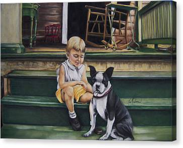 Sam And Gippy Canvas Print by Leah Wiedemer