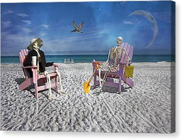 Sam And His Friend Visit Long Boat Key Canvas Print by Betsy Knapp