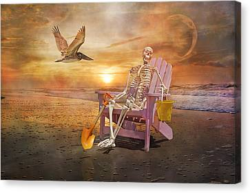 Coastal Places Canvas Print - Sam Is Tickled With A Visiting Pelican by Betsy Knapp