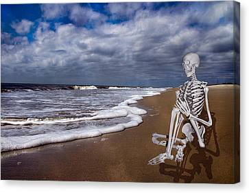 Sam Looks To The Ocean Canvas Print by Betsy Knapp