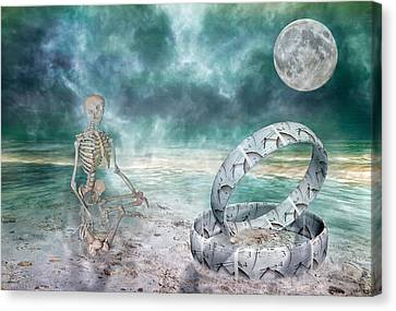 Sam Meditates With Time One Of Two Canvas Print by Betsy Knapp