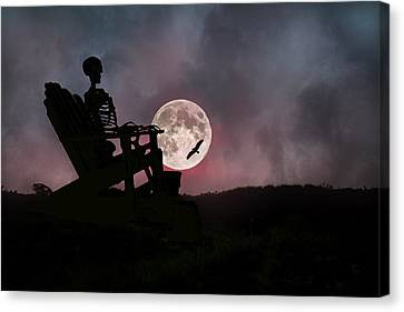 Sam Reasons With The Moon Canvas Print by Betsy Knapp