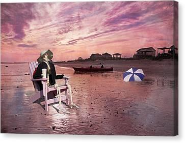Canoe Canvas Print - Sam Takes A Break From Kayaking by Betsy Knapp