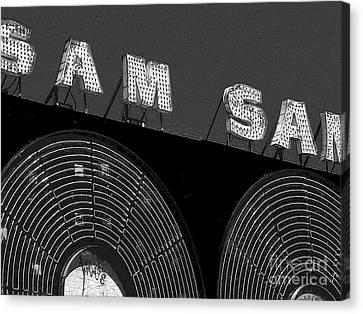Sam The Record Man At Night Canvas Print