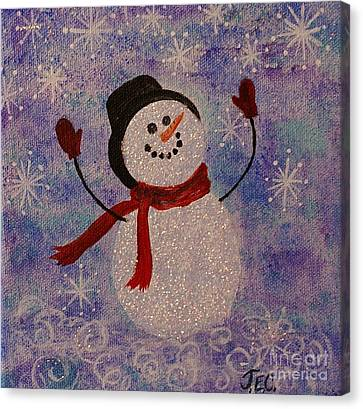 Canvas Print featuring the painting Sam The Snowman by Jane Chesnut