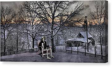 Sam Visits Winter Wonderland Canvas Print by Betsy Knapp