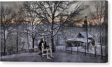 Sam Visits Winter Wonderland Canvas Print by Betsy Knapp