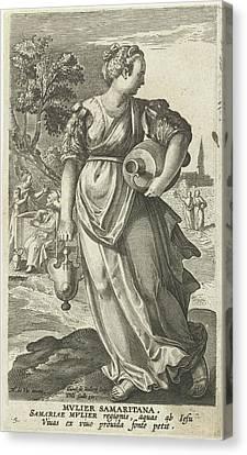 Samaritan Woman, Karel Van Mallery, Philips Galle Canvas Print by Karel Van Mallery And Philips Galle And Cornelis Kiliaan