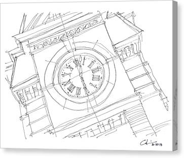 Canvas Print featuring the drawing Samford Clock Sketch by Calvin Durham