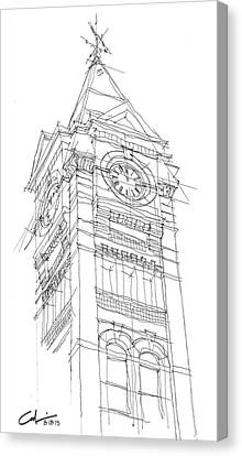 Canvas Print featuring the drawing Samford Hall Sketch by Calvin Durham