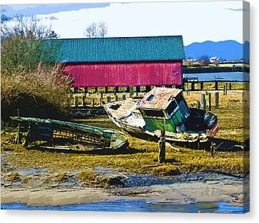 Samish Island Abandoned Boat Canvas Print by John Parks