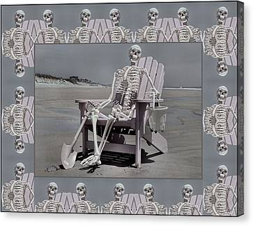 Skull Canvas Print - Sam's Humerus Office Wall Decor by Betsy Knapp
