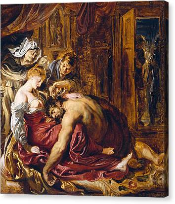 Samson And Delilah, C.1609 Oil On Panel Canvas Print by Peter Paul Rubens