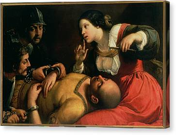 Samson And Delilah Canvas Print by Michelangelo Caravaggio