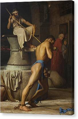 Samson And The Philistines Canvas Print by Carl Bloch