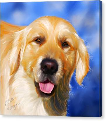 Happy Golden Retriever Painting Canvas Print by Michelle Wrighton