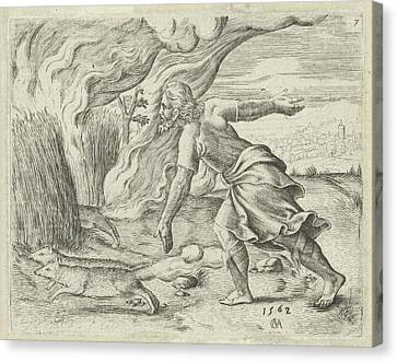 Samson Puts The Wheat Fields Of The Philistines In Fire Canvas Print by Cornelis Massijs