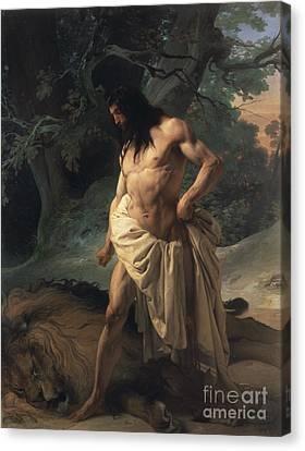 Samson Slays The Lion Canvas Print by Francesco Hayez