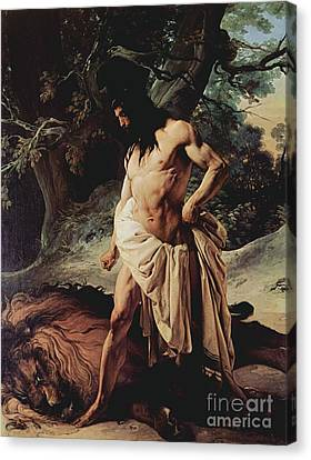 Samson Slays The Lion Canvas Print by Pg Reproductions