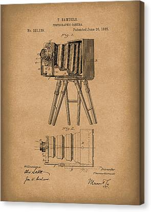 Camera Canvas Print - Samuels Photographic Camera 1885 Patent Art Brown by Prior Art Design