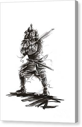 Armor Canvas Print - Samurai Complete Armor Warrior Steel Silver Plate Japanese Painting Watercolor Ink G by Mariusz Szmerdt