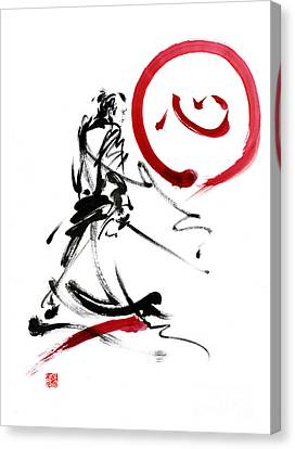 Handmade Canvas Print - Samurai Enso Circle Wild Fury Bushi Bushido Martial Arts Sumi-e  by Mariusz Szmerdt