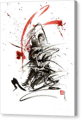 Asia Canvas Print - Samurai Sword Black White Red Strokes Bushido Katana Martial Arts Sumi-e Original Fight Ink Painting by Mariusz Szmerdt