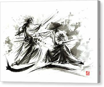 Samurai Sword Bushido Katana Martial Arts Budo Sumi-e Original Ink Painting Artwork Canvas Print by Mariusz Szmerdt