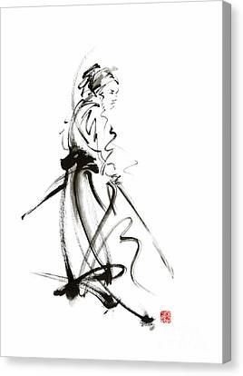 Samurai Sword Bushido Katana Martial Arts Sumi-e Original Ink Painting Artwork Canvas Print by Mariusz Szmerdt
