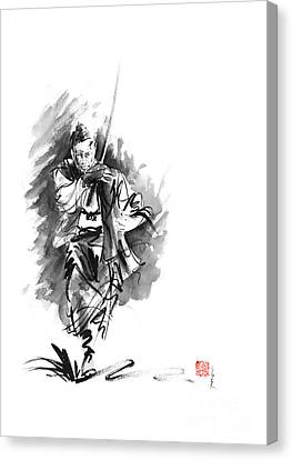 Samurai Sword Bushido Katana Martial Arts Sumi-e Original Running Run Man Design Ronin Ink Painting  Canvas Print