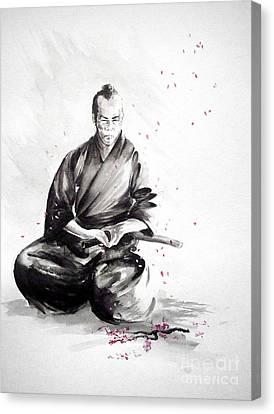 Cherry Blossoms Canvas Print - Samurai Warrior Japanese Martial Arts. Bushido. by Mariusz Szmerdt