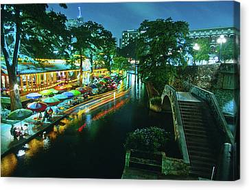 San Antonio River Walk At Night, River Canvas Print