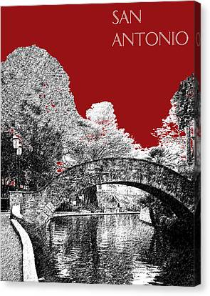 San Antonio Skyline River Walk - Dark Red Canvas Print