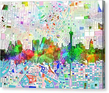 Abstract Digital Canvas Print - San Antonio Skyline Watercolor 6 by Bekim Art