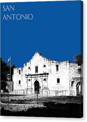 San Antonio The Alamo - Royal Blue Canvas Print