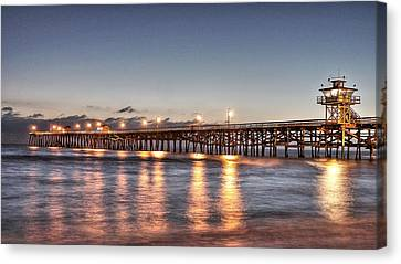 San Clemente Pier At Night Canvas Print by Richard Cheski