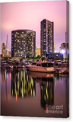 San Diego At Night At Embarcadero Marina Canvas Print by Paul Velgos
