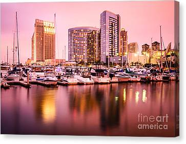 San Diego At Night With Skyline And Marina Canvas Print by Paul Velgos