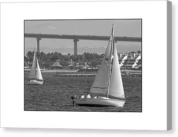 Canvas Print featuring the digital art San Diego Bay Sailing 1 by Kirt Tisdale