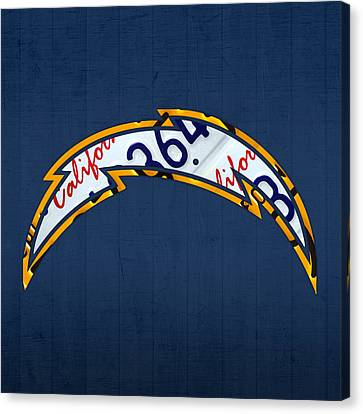 San Diego Chargers Football Team Retro Logo California License Plate Art Canvas Print by Design Turnpike