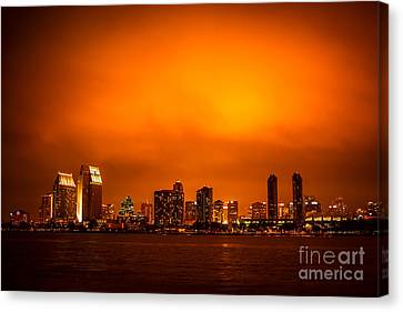 San Diego Cityscape At Night Canvas Print