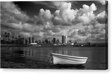 Rowboat Canvas Print - San Diego Harbor by Joseph Smith