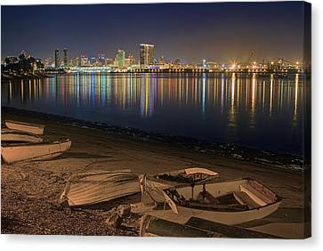 Canvas Print featuring the photograph San Diego Harbor Lights by Gary Holmes