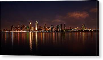 San Diego Night Skyline Canvas Print by Peter Tellone