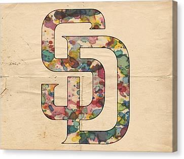 San Diego Padres Logo Vintage Canvas Print by Florian Rodarte
