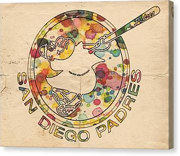 San Diego Padres Vintage Art Canvas Print by Florian Rodarte
