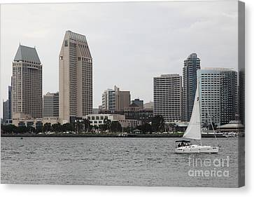 San Diego California Baseball Stadiums Canvas Print - San Diego Skyline 5d24333 by Wingsdomain Art and Photography