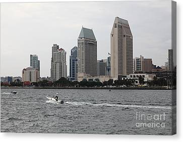 San Diego California Baseball Stadiums Canvas Print - San Diego Skyline 5d24334 by Wingsdomain Art and Photography
