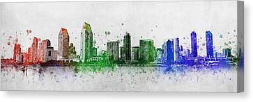 San Diego Skyline Canvas Print by Aged Pixel