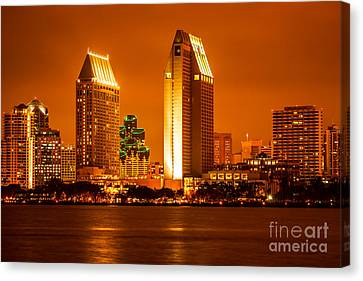 San Diego Skyline At Night Along San Diego Bay Canvas Print